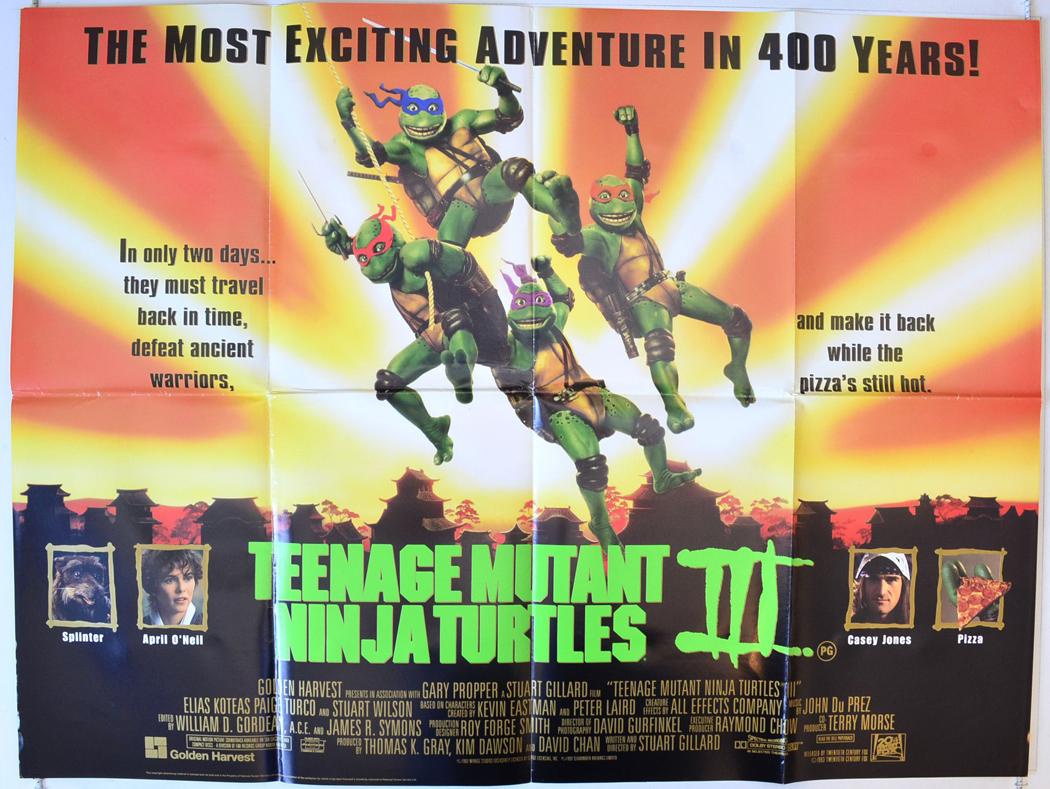 TEENAGE MUTANT NINJA TURTLES III 1993 Cinema Quad Movie ...