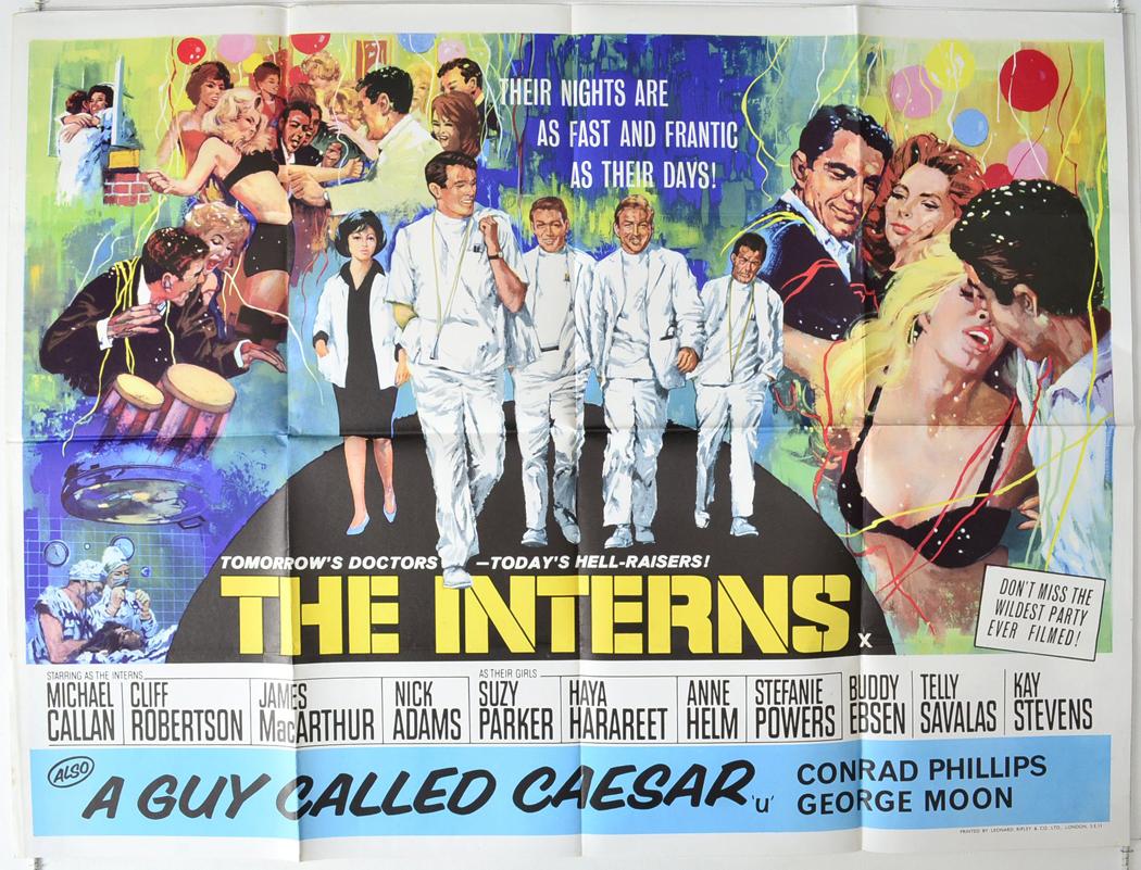 the interns 1962 original quad film poster michael