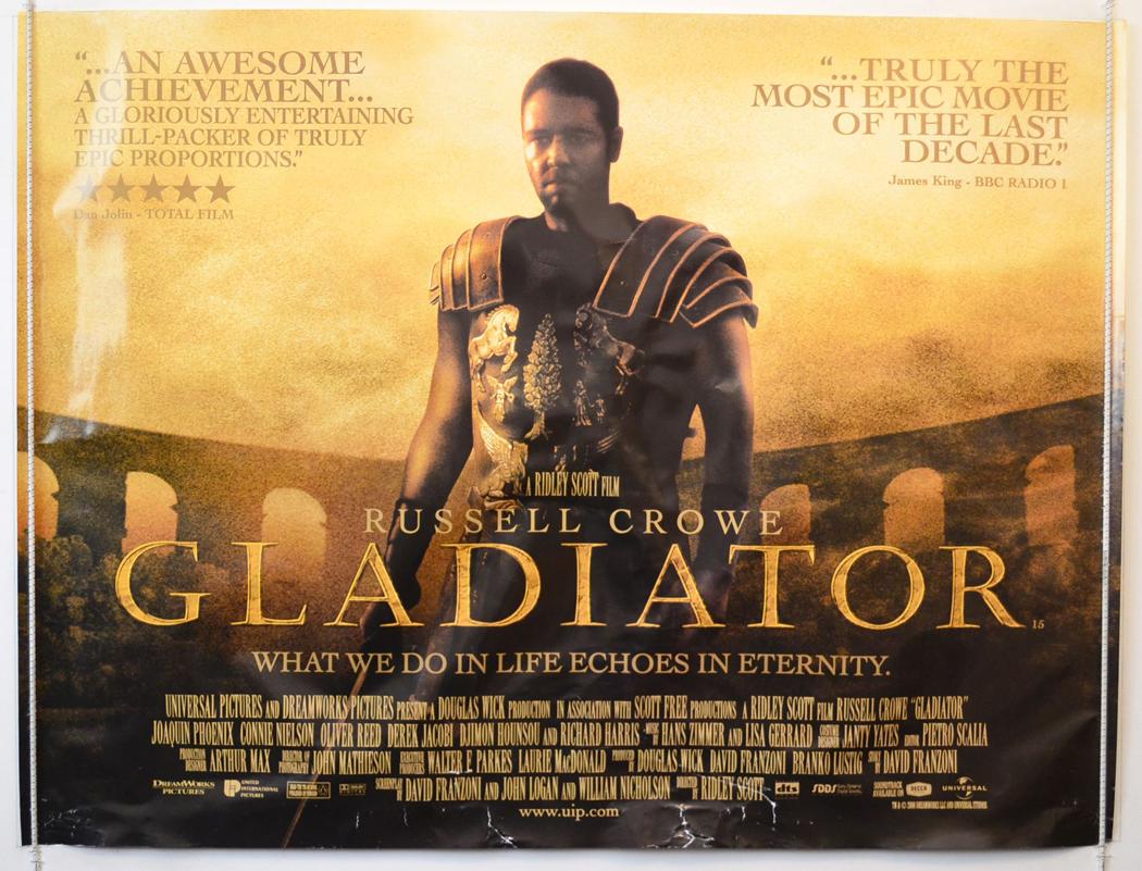 Movie Posters 2000: GLADIATOR (2000) Original Cinema Quad Movie Poster