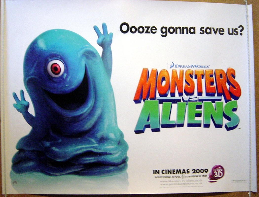 monsters vs aliens 2009 original quad movie poster
