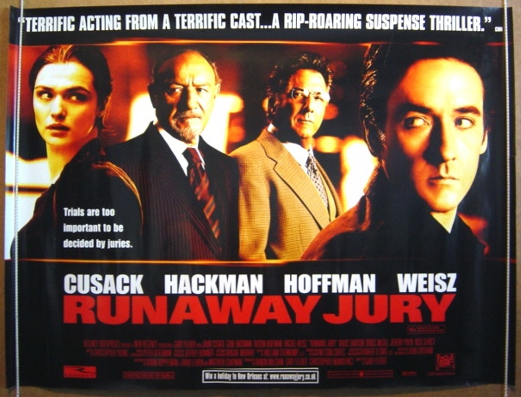 runaway jury Legal thriller isn't aimed at kids read common sense media's runaway jury review, age rating, and parents guide.