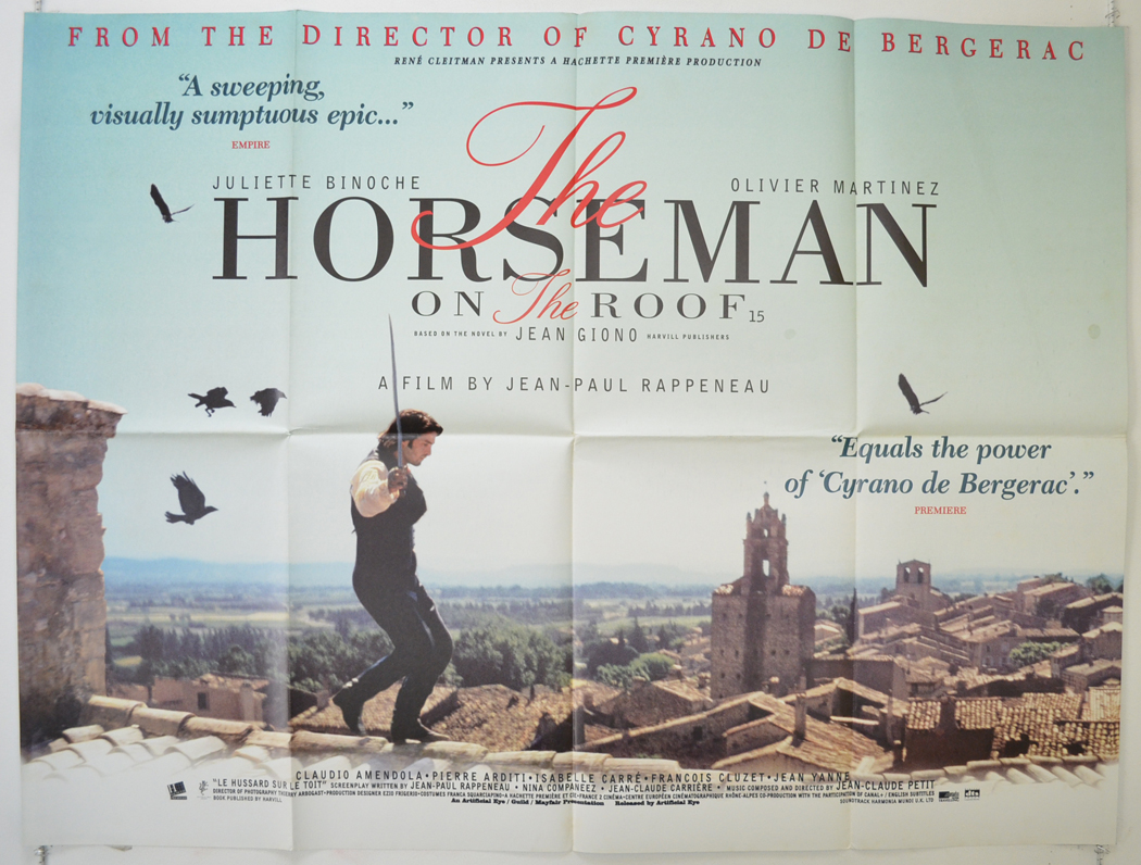 1995 Movie Posters: THE HORSEMAN ON THE ROOF (1995) Original Quad Movie Poster