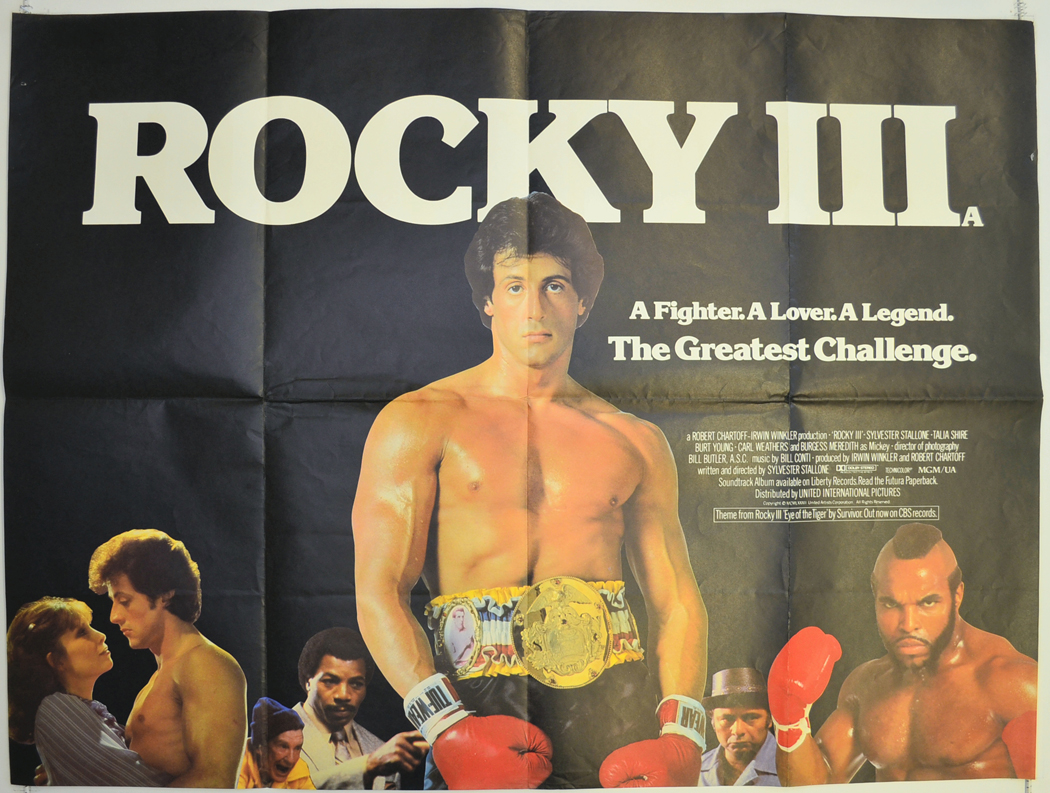 rocky iii 1982 original quad movie poster sylvester