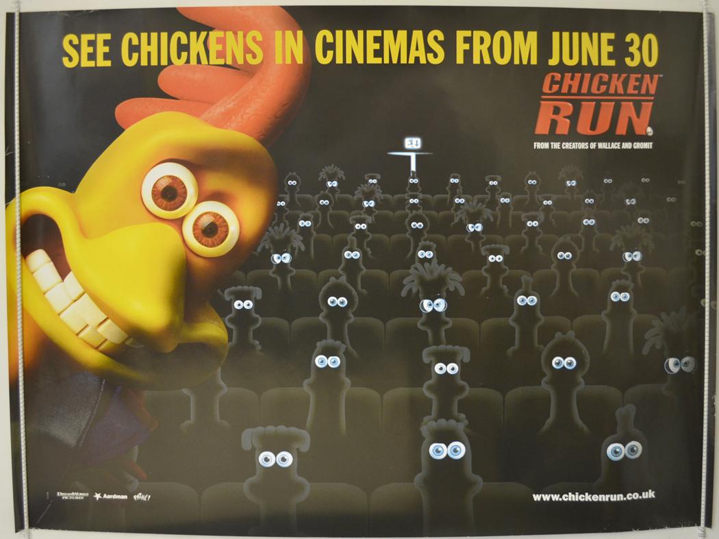 Movie Posters 2000: CHICKEN RUN (2000) Original Cinema Quad Movie Poster