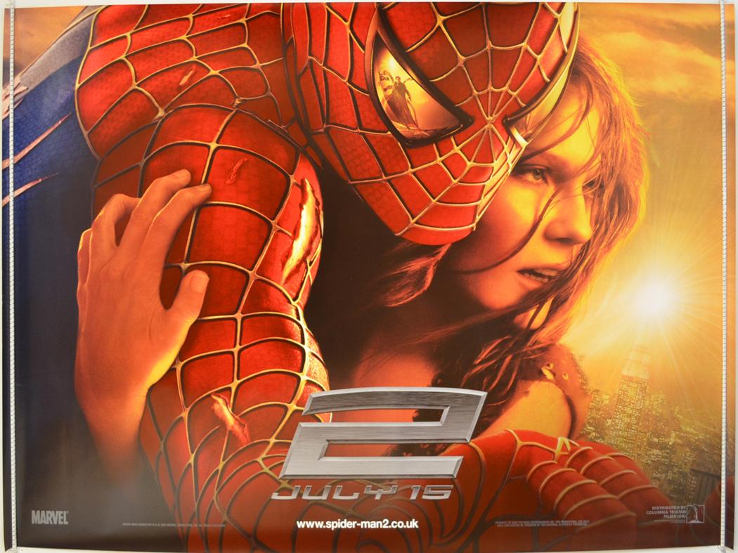 Spider man 2 2004 original quad film poster tobey maguire spiderman adv 3 ebay - Quad spiderman ...