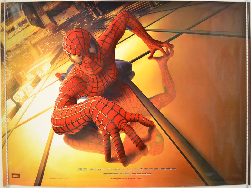 Spider man 2002 original quad movie poster tobey maguire spiderman teaser ebay - Quad spiderman ...