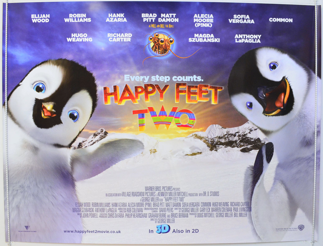 happy feet two original cinema movie poster from
