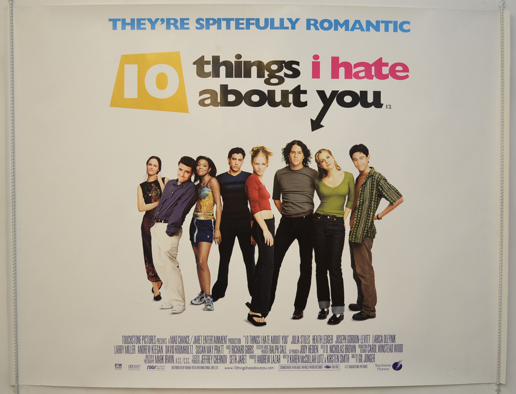 Ten Things I Hate About You: 10 THINGS I HATE ABOUT YOU (1999) Original Quad Movie