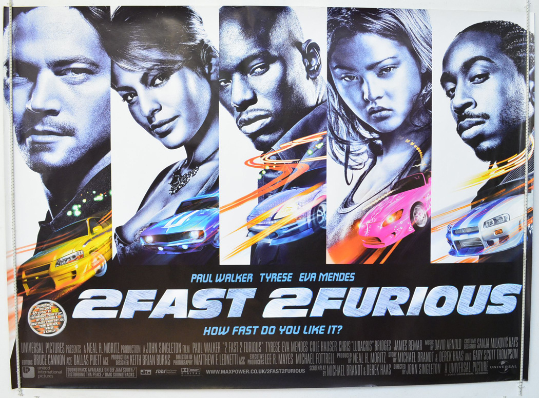 2 fast 2 furious original cinema movie poster from. Black Bedroom Furniture Sets. Home Design Ideas