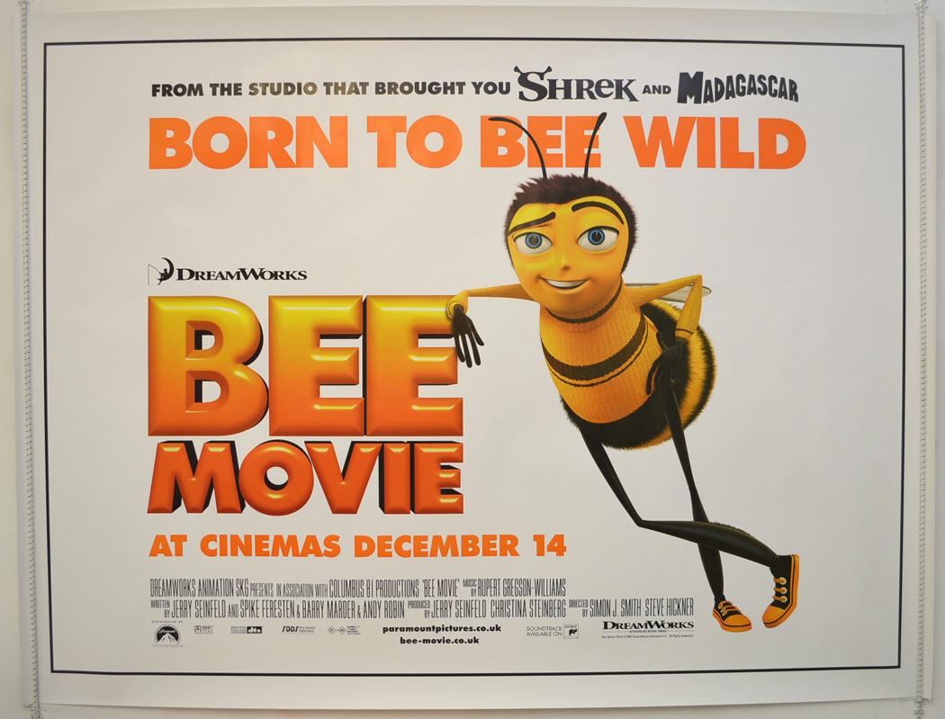 Movie Posters 2007: BEE MOVIE (2007) Original Quad Film Poster
