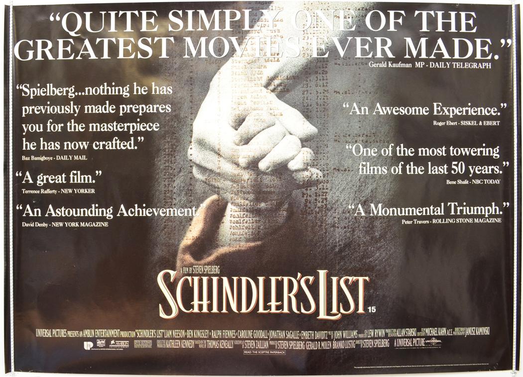 schindlers list original cinema movie poster from