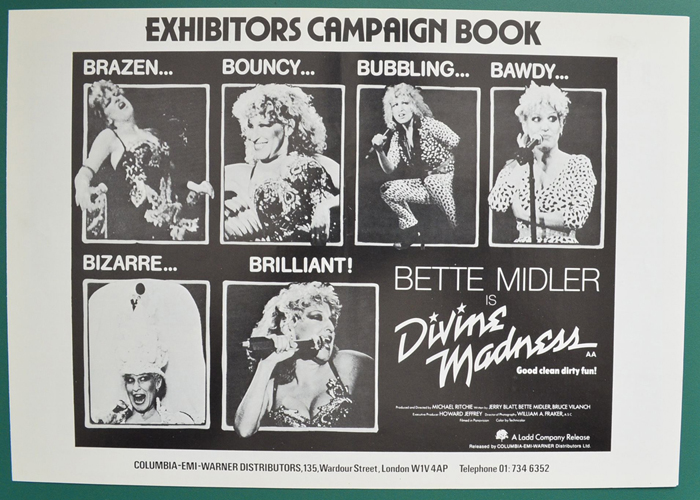 Divine Madness (Bette Midler Is) <p><i> Original 4 Page Cinema Exhibitor's Campaign Press Book </i></p>