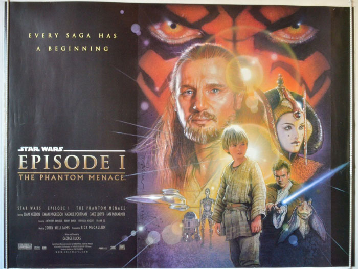 star wars episode 1 the phantom menace original cinema movie poster from. Black Bedroom Furniture Sets. Home Design Ideas
