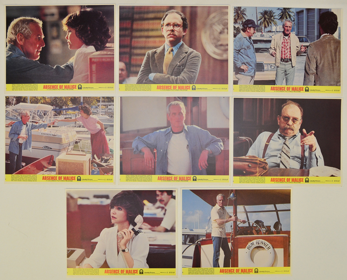 Absence Of Malice <p><a> Set of 8 Original Lobby Cards / Colour Front Of House Stills </i></p>