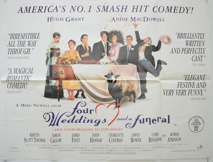 Four weddings and a funeral original cinema movie poster for Four weddings and a funeral director mike
