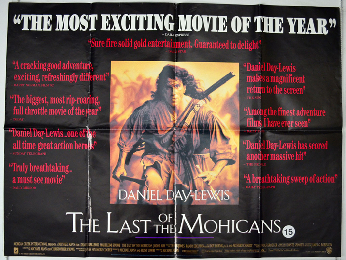 last of the mohicans original cinema movie poster from british quad posters. Black Bedroom Furniture Sets. Home Design Ideas