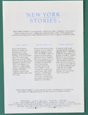 New York Stories  - Info Booklet -  Back