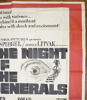 THE NIGHT OF THE GENERALS – 6 Sheet Poster – TOP Right