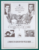 Chariots Of Fire <p><i> Original 8 Page Cinema Exhibitor's Campaign Press Book </i></p>