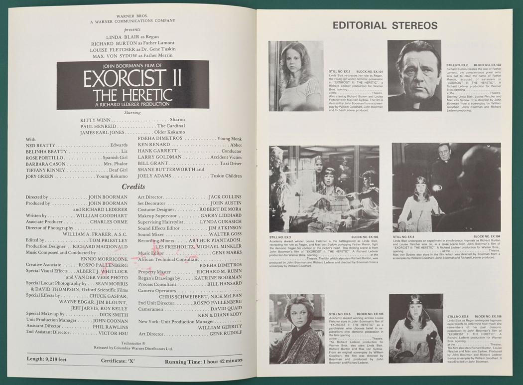 Exorcist II : The Heretic Original 8 Page Cinema ...   1050 x 772 jpeg 505kB