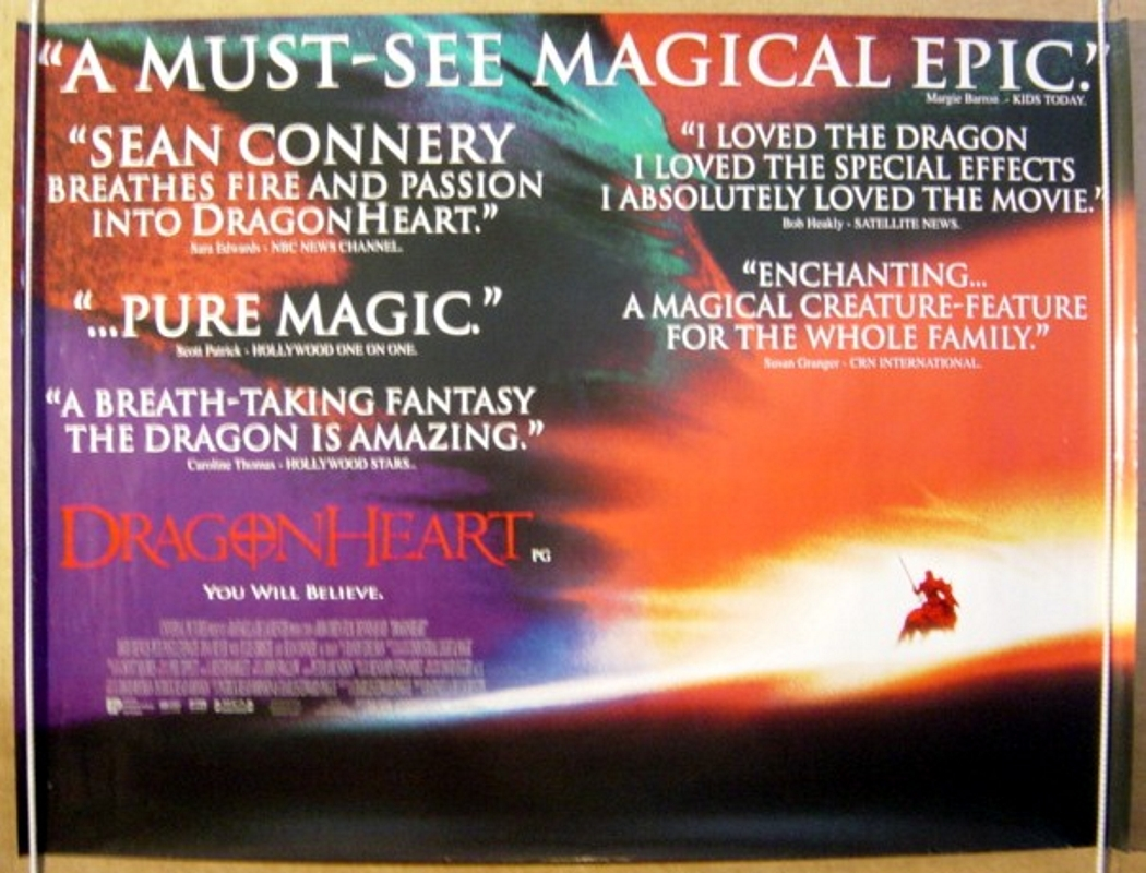 Dragonheart Br Quotes Design Original Cinema Movie Poster From Pastposters Com British Quad Posters And Us 1 Sheet Posters