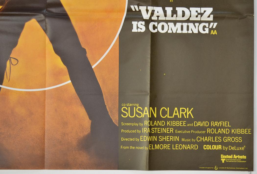 Valdez Is Coming Original Cinema Movie Poster From