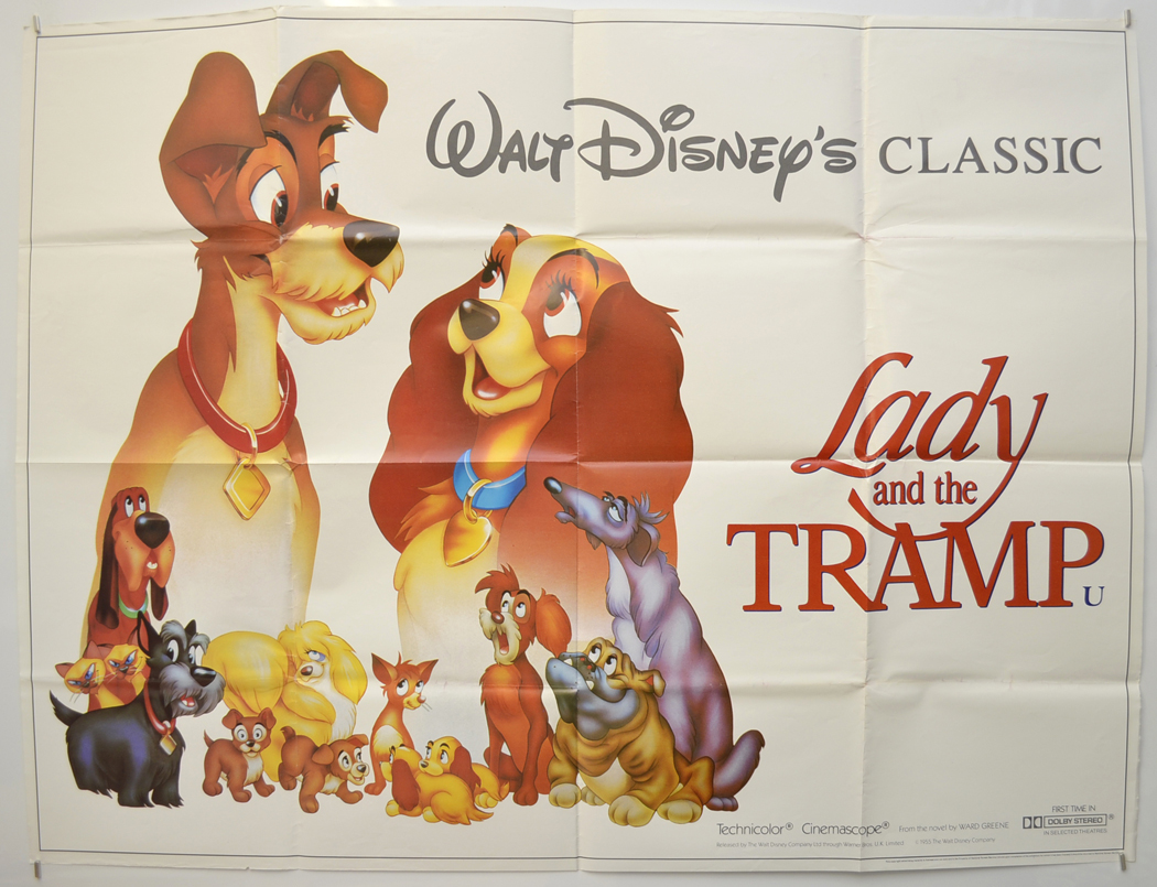 Lady And The Tramp P I 1986 Re Release I P Original Cinema Movie Poster From Pastposters Com British Quad Posters And Us 1 Sheet Posters
