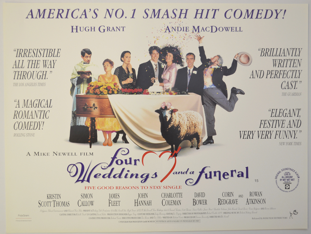 Four Weddings And A Funeral Original Cinema Movie Poster From