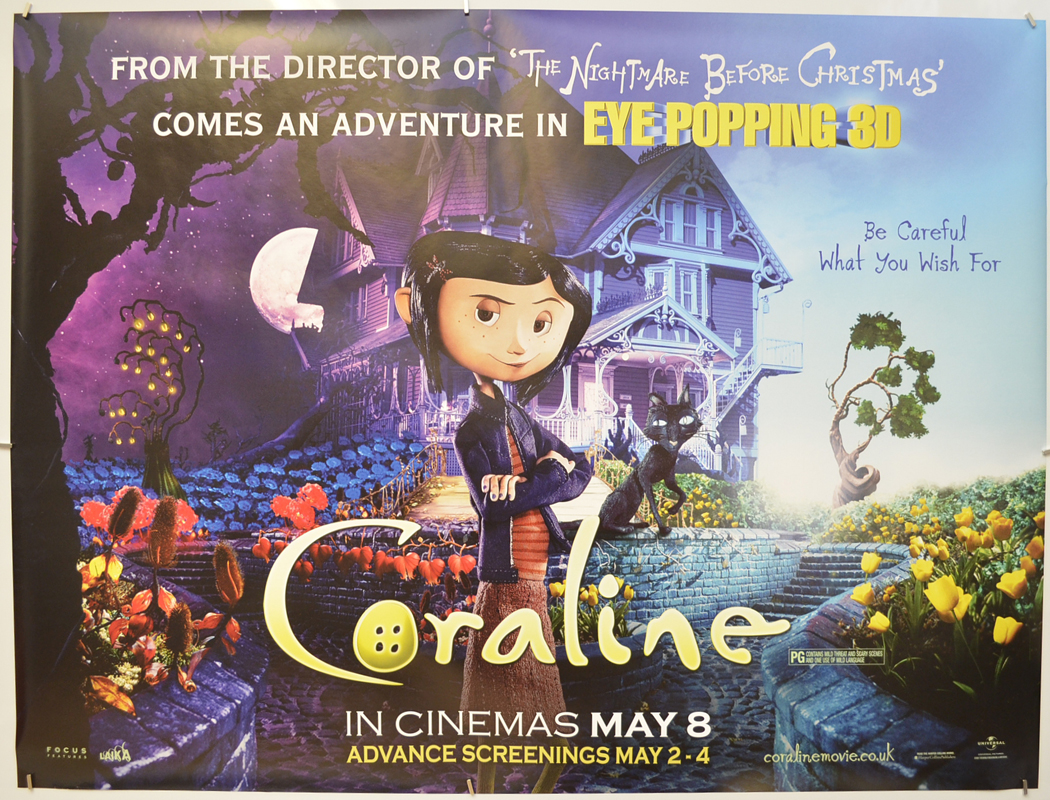 Coraline P I Teaser Advance Version I P Original Cinema Movie Poster From Pastposters Com British Quad Posters And Us 1 Sheet Posters