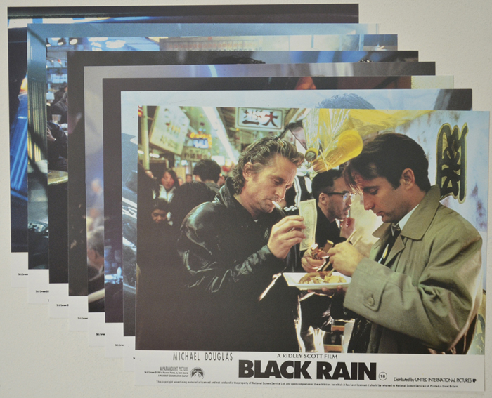 Black Rain <p><a> Set of 8 Original Colour Front Of House Stills / Lobby Cards  </i></p>