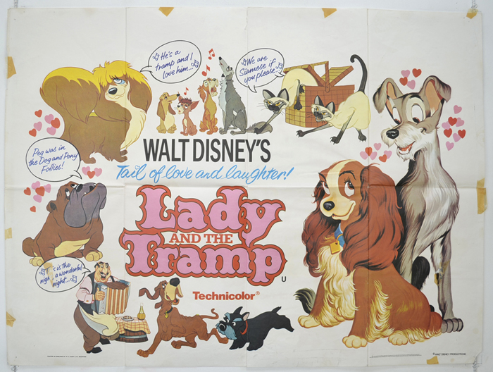 Lady And The Tramp P I 1980 Re Release I P Original Cinema Movie Poster From Pastposters Com British Quad Posters And Us 1 Sheet Posters