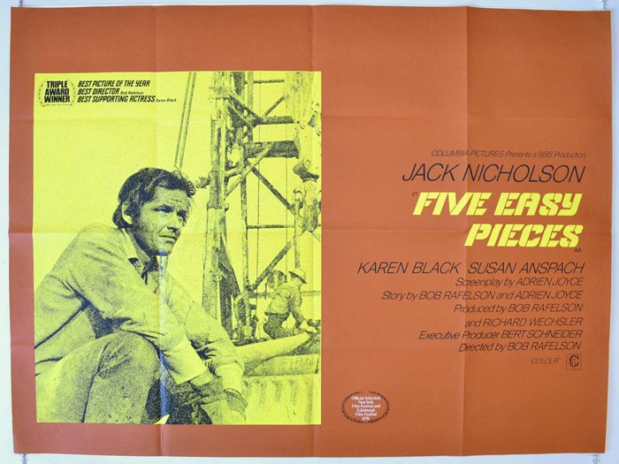 Five Easy Pieces - Original Cinema Movie Poster From pastposters.com  British Quad Posters and US 1-Sheet Posters