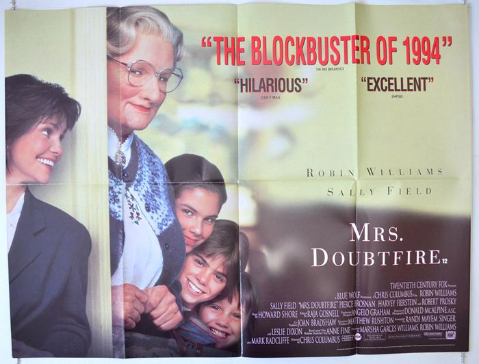 Mrs Doubtfire - Original Cinema Movie Poster From pastposters.com ...