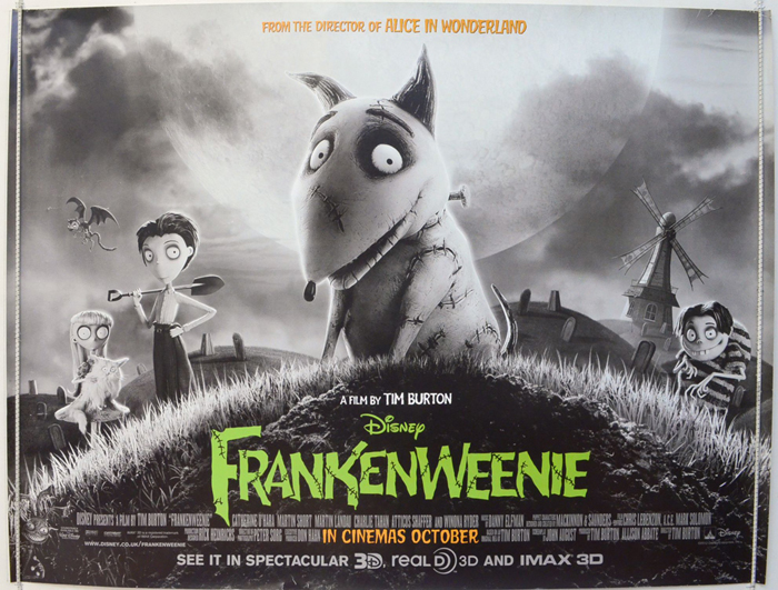 Frankenweenie Original Cinema Movie Poster From Pastposters Com British Quad Posters And Us 1 Sheet Posters