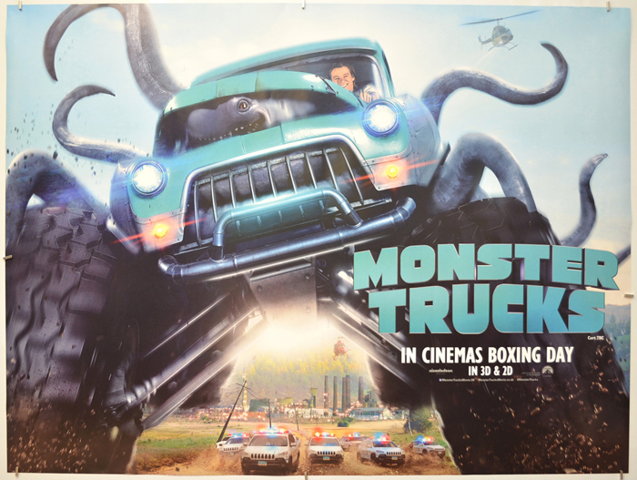 Monster Trucks I P Teaser Advance Version I P Original Cinema Movie Poster From Pastposters Com British Quad Posters And Us 1 Sheet Posters