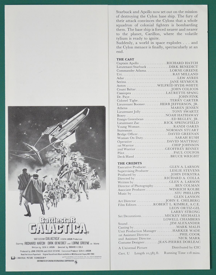 Battlestar Galactica <p><i> Original Cinema Synopsis / Credits Sheet</i></p>