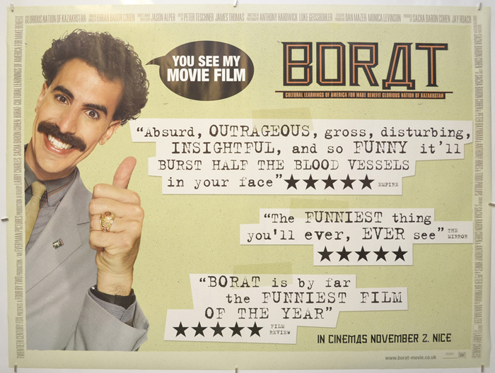 Borat - Original Cinema Movie Poster From pastposters.com British Quad  Posters and US 1-Sheet Posters