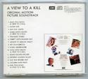 007 : A VIEW TO A KILL Original CD Soundtrack (back)