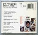007 : LIVE AND LET DIE Original CD Soundtrack (back)