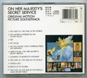 007 : ON HER MAJESTY'S SECRET SERVICE Original CD Soundtrack (back)