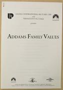 ADDAMS FAMILY VALUES Original Cinema Press Kit – Production Info