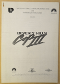 BEVERLY HILLS COP III Original Cinema Press Kit – Production Info