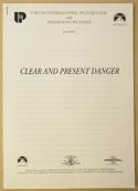 CLEAR AND PRESENT DANGER Original Cinema Press Kit – Production Info