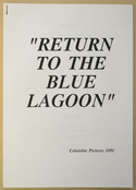 RETURN TO THE BLUE LAGOON Original Cinema Press Kit – Production Info