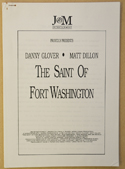 SAINT OF FORT WASHINGTON Original Cinema Press Kit – Production Info