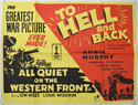 ALL QUIET ON THE WESTERN FRONT / TO HELL AND BACK Cinema Quad Movie Poster