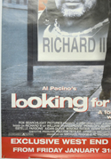 LOOKING FOR RICHARD (Bottom Left) Cinema 4 Sheet Movie Poster