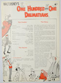 One Hundred And One Dalmatians (1976 re-release) <p><i> Original Cinema Exhibitor's Synopsis / Credits Sheet </i></p>