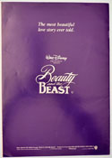 BEAUTY AND THE BEAST Cinema Exhibitors Campaign Press Book - BACK