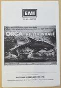 ORCA THE KILLER WHALE Cinema Exhibitors Campaign Press Book